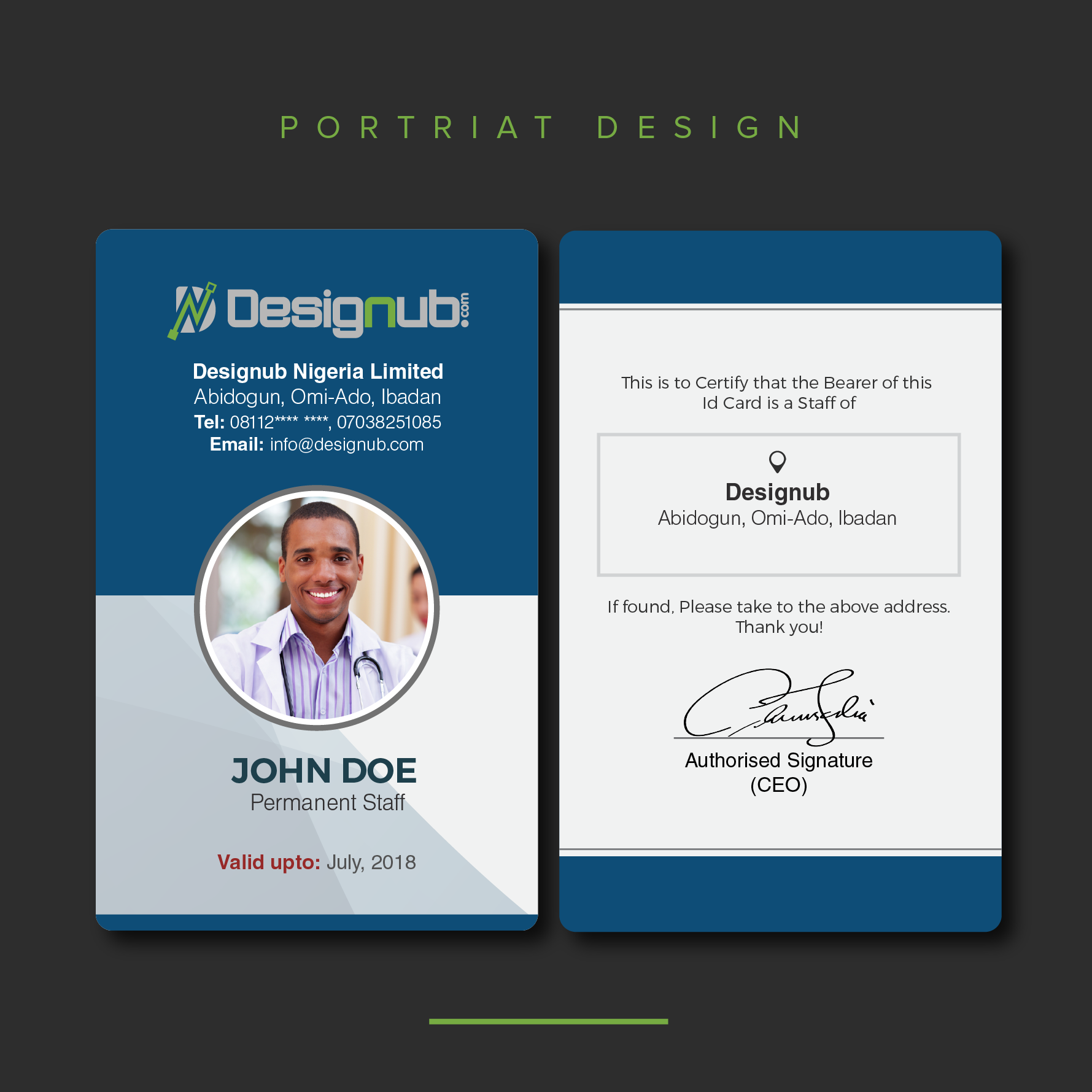 two  2  id card design template